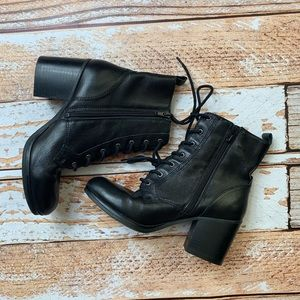 Nine West Black Leather granny boots
